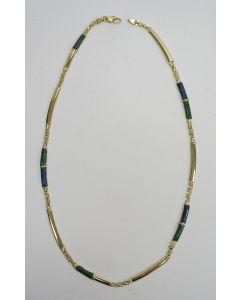 Gouden collier met malachiet en lapis lazuli