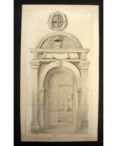 Sepiatekening, kerkportaal in Warns, 19e eeuw