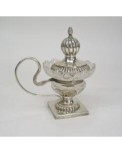 Kristallen mosterdpot met zilveren montuur, Arnoldus Hombergen, Breda, ca. 1835