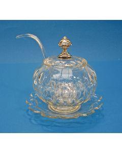 Geslepen kristallen bowlpot met zilveren knop, 19e eeuw