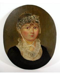 Portret van een jongedame met kanten muts, olieverf, ca. 1800