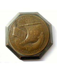 [Chris van der Hoef] Bronzen presse-papier, Tiende Nederlandse Jaarbeurs, 1924