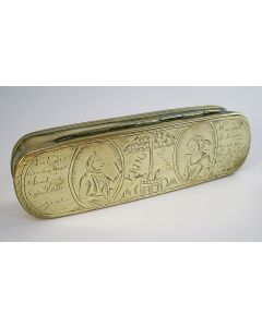 Gegraveerde koperen tabaksdoos met orangistische voorstelling, ca. 1787