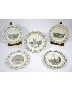 Faience borden met Franse stadsvoorstellingen, Creil, ca. 1820