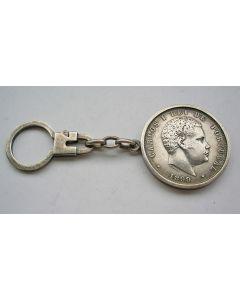 Zilveren sleutelhanger met Portugese munt, 1899