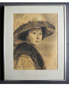 Johan Cohen Gosschalk, portret van zijn zuster, de kunstenares Meta Cohen Gosschalk, 1911
