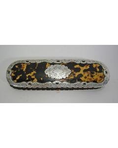 Schildpad brillenkoker met zilverbeslag, 19e eeuw