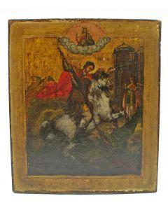 Russische icoon, Sint Joris en de draak, ca. 1800