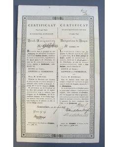 Obligatie van 1000 Roebel. Certificaat van 6 % Russische Fondsen in Bank Assignatiën, 1834