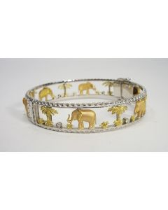 18 karaats gouden armband met olifantjes, bezet met briljantjes