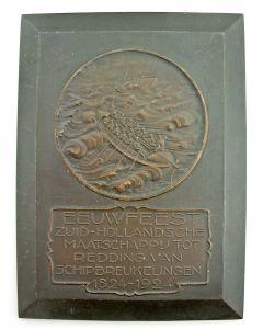 Plaquettepenning, Eeuwfeest van de Zuid-Hollandsche Maatschappij tot Redding van Schipbreukelingen, 1924