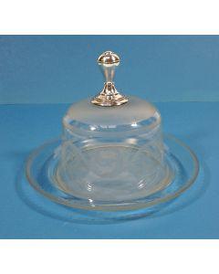 Glazen kaasstolp met zilveren knop, 19e eeuw