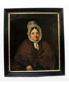 Portret van een vrouw met neepjesmuts, 19e eeuw