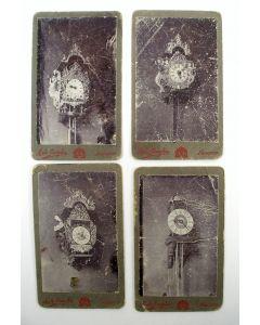 4 carte de visite-foto's met afbeeldingen van Friese klokken door fotograaf A. de Gruyter, Nijmegen 19e eeuw