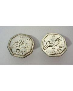 Twee zilveren knopen met ruitertjes, Gerhardus Dalewijk, Meppel, ca. 1780/90