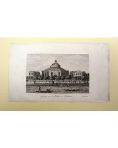 'Gezigt op de Kerk te Batavia', gravure door D. Veelwaard, 1827