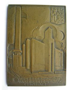 Plaquette, Inwijding Krachtcentrale P.E.N. te Velzen, 1932  [Chris van der Hoef]