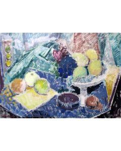 Louis Meijs, stilleven met fruit, pasteltekening