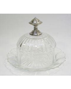 Kristallen kaasstolp met zilveren knop, 19e eeuw