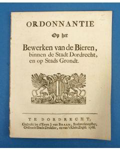 'Ordonnantie op het Bewerken van de Bieren, binnen de stadt Dordrecht', 1766