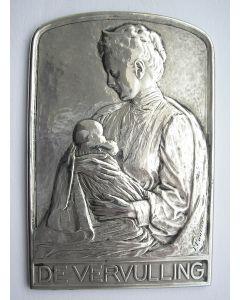 Zilveren plaquette 'De vervulling' door Pier Pander, 1909