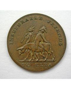 'Inseparable friends', Spotpenning op de verbanning van Napoleon naar Elba, 1814