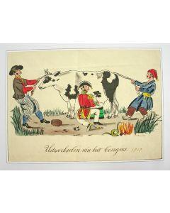 Aquarel, spotprent op de gevolgen van het Wener Congres, 1818