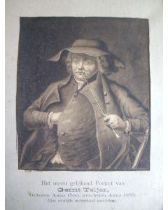 Portret van Gerrit Teljer, sepiatekening, ca. 1800