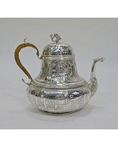 Zilveren theepot met bijbelse voorstellingen, Leeuwarden 1797