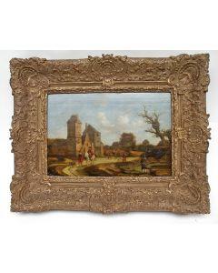 Hollandse School, Ruiters bij een kasteel, 17e/18e eeuw