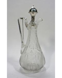 Kristallen oorkaraf met zilveren stop, 19e eeuw