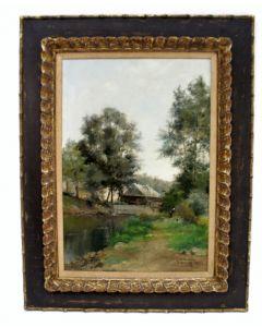Armand Mannoury, landschap met boerderij, olieverf, 1885