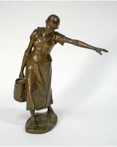 Hans Müller, 'De waterdraagster', bronzen sculptuur