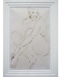 Gerard Hordijk, 'Zittend naakt', inkttekening