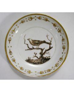Schoteltje met vogelvoorstelling. 'Porcelaine de Paris' voor de Nederlandse markt, gedateerd 1804
