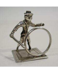 Zilveren miniatuur, jongen met hoepel, Hendrik Duller, 1776