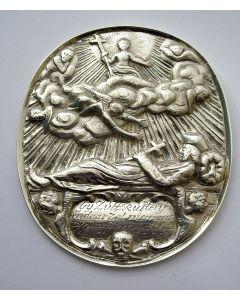 Gegraveerde zilveren overlijdenspenning van A.C. Meylink,  aartspriester van Holland en pastoor van Amsterdam, 1787