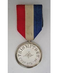 Deelnemersmedaille van een Waterlooveteraan aan de Triomftocht 1863, ter viering van vijftig jaar Koninkrijk der Nederlanden