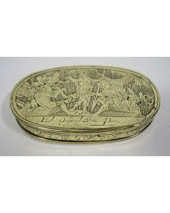 Gegraveerde koperen tabaksdoos met het Oordeel van Paris, 18e eeuw