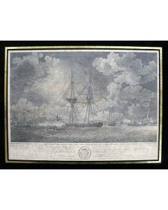 Gravure, expeditie op de Schelde tegen een Frans eskader, 1793