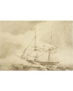 B. Sloet, een tweemaster schip, potloodtekening, 19e eeuw