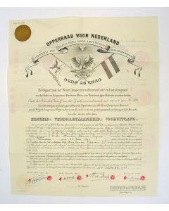 Oorkonde van de Vrijmetselarij (Schotse Ritus), op naam van A.H. Lugard, 1948