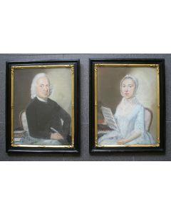 Pieter Frederik de la Croix, pastelportretten van Johan Ferdinand Mauritz en zijn dochter Hillegonda Rachel Mauritz (gehuwd met Ds. David Snethlage te Deil), 1782.