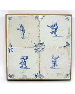 Vierpas van tegels met ambachten, ca. 1700