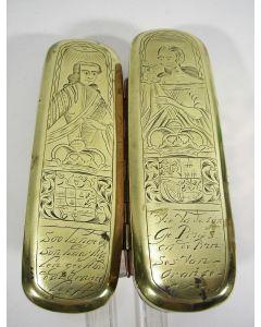 Gegraveerde koperen tabaksdoos met de voorstellingen van Stadhouder Johan Willem Friso en Anna van Hannover, 18e eeuw