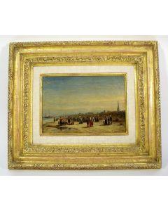 P.G. Vertin, 'Het uitladen van de vangst op het strand van Scheveningen', 1875