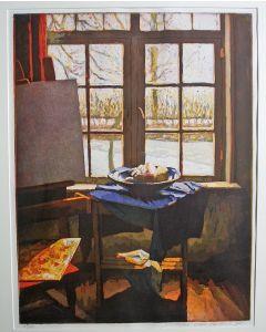 Marcel Schellekens, 'Doorkijk met ezel', kleurenets, 1995