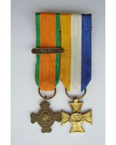 Oorlogsherinneringskruis met gesp en Officierskruis, 15 jaar, miniaturen