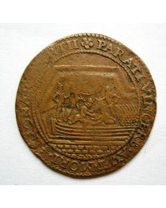 Rekenpenning Dordrecht 1590, op de Inname van Breda met het turfschip