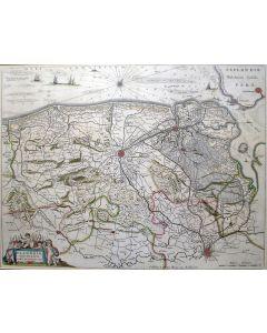 Handgekleurde kaart van West-Vlaanderen en Zeeuws-Vlaanderen, gebr. Blaeu, 17e eeuw